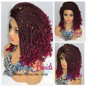 Fully braided lace front wig, burgandy wig, short